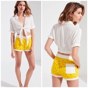 Urban Outfitters Gidget Yellow Board Floral Shorts